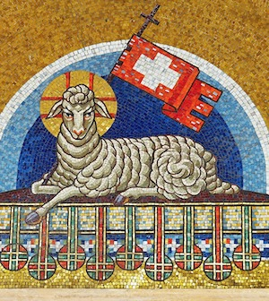 Lamb with Crown and Flag